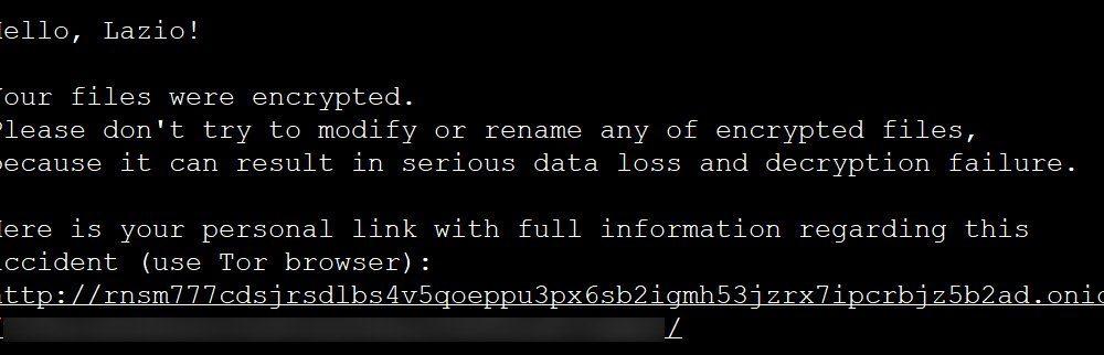 ransomware_messaggio_riscatto_Lazio